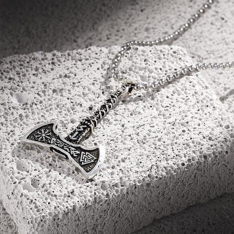 Viking Axe Necklace // Antique Silver