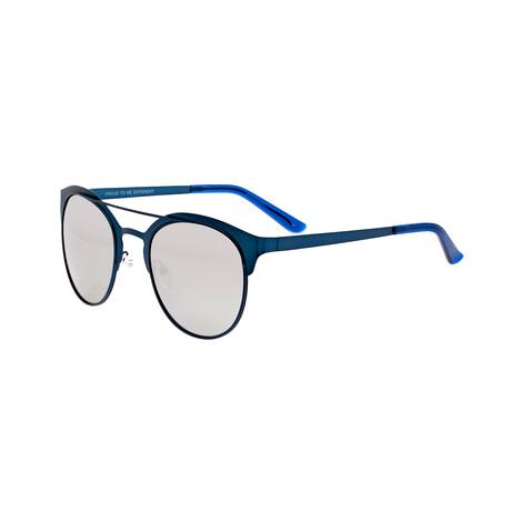 Phoenix // Titanium Polarized Sunglasses // Blue Frame + Silver Lens