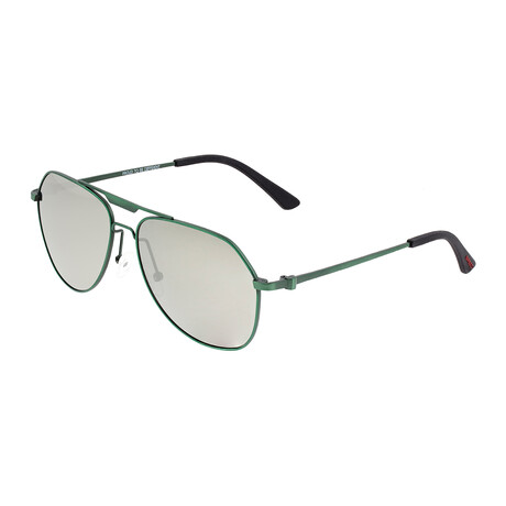 Mount // Titanium Polarized Sunglasses // Green Frame + Silver Lens