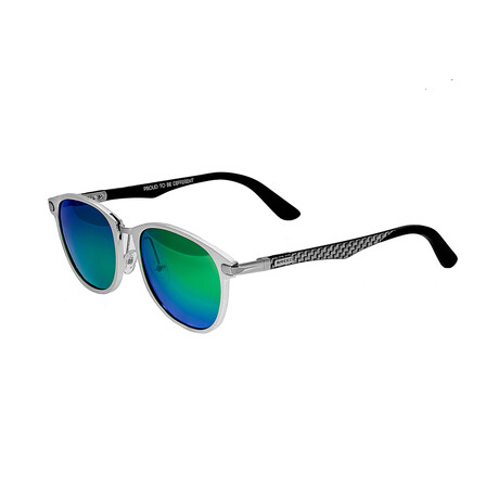 Cetus // Titanium Polarized Sunglasses // Silver Frame + Blue Green Lens