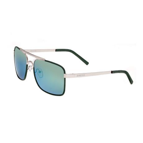 Draco // Titanium Polarized Sunglasses // Silver Frame + Blue Green Lens