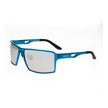Centaurus Polarized Sunglasses // Blue Frame + Silver Lens