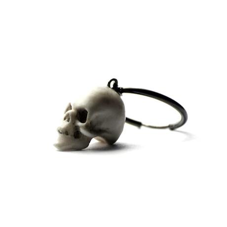 Skull Pendant Single Hoop Earring // White + Silver