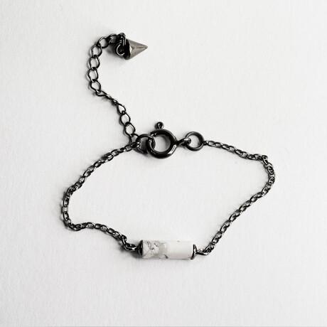 "Marble Bar Pendant Bracelet // 6.3"" // Silver"