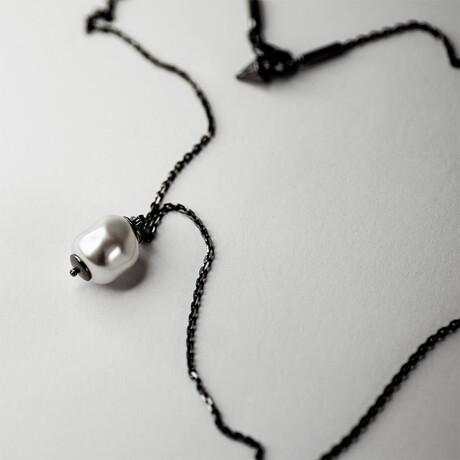 "Baroque Pearl Pendant Necklace // 15.7"" // Silver"