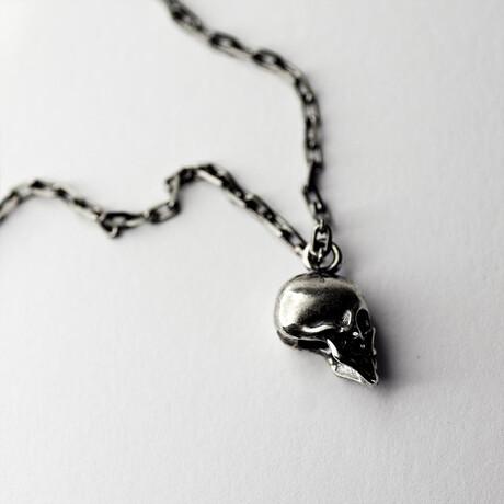 "Cranium Pendant Necklace // 19.6"" // Silver"