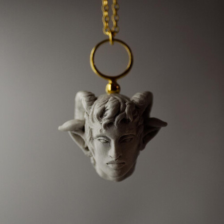 """Satyr Pendant Necklace // 19.6"""" // Gold Plated"""