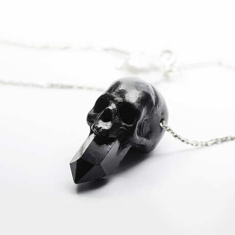 """Crystal Skull Pendant Necklace // 19.6"""" // Silver"""