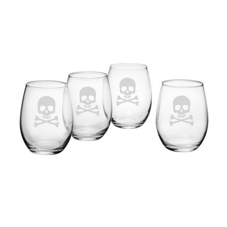 Stemless Wine Glasses // Set of 4 // 21 oz // Skull & Crossbones