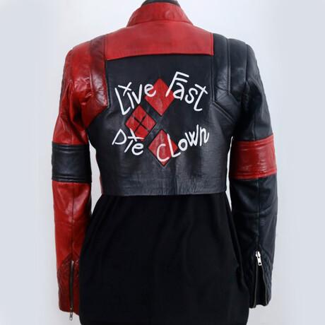 Harley Quinn Crop Leather Jacket // Black + Red (XS)