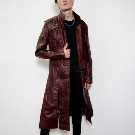 Guardians of the Galaxy Star Lord Leather Trench Coat // Maroon (XS)