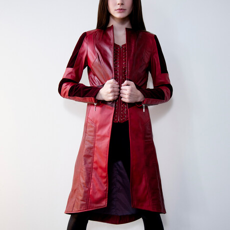 Scarlet Witch Leather Corset Coat // Red (XS)