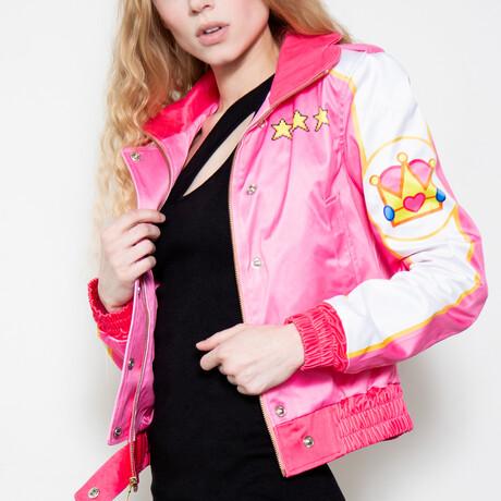 Princess Peach Bomber Jacket // Pink + White (XS)