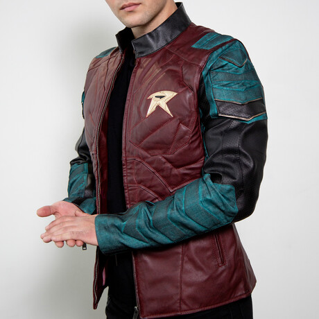 Robin Armor Titans Leather Jacket // Red + Green (XS)