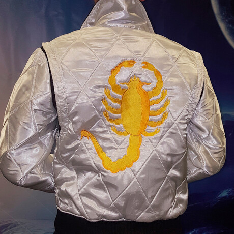 Drive Scorpion Satin Jacket // White + Yellow (XS)