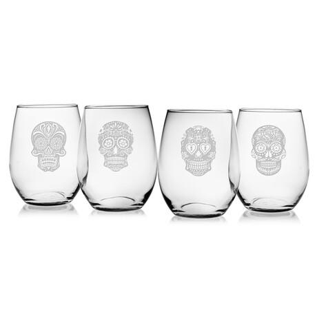 Stemless Wine Glasses // Set of 4 // 21 oz // Dia De Los Muertos