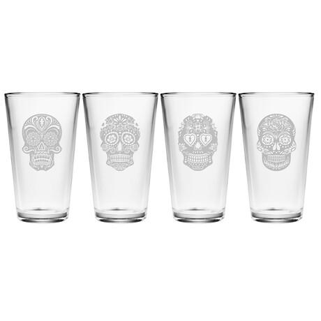 Pint Glasses // Set of 4 // 16 oz // Dia De Los Muertos