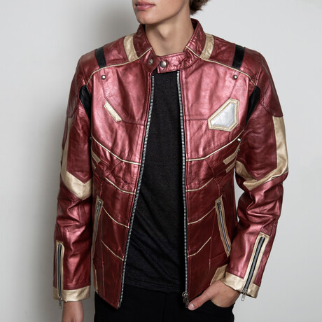 Iron Man Armor Leather Jacket // Red + Gold (XS)