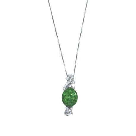 """18K White Gold Diamond + Tsavorite Garnet Necklace // 16.5"""" // Pre-Owned"""