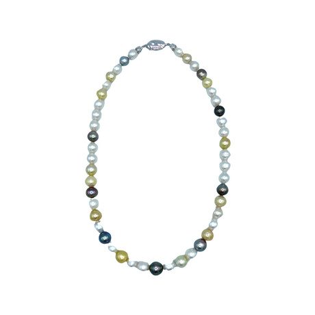 """Sterling Silver Multicolored Pearls Beaded Necklace // 18"""" // Pre-Owned"""