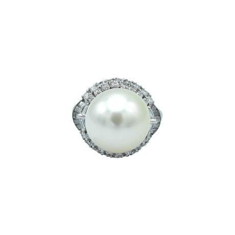 Platinum Diamond + Pearl Ring // Ring Size: 6.75 // Pre-Owned
