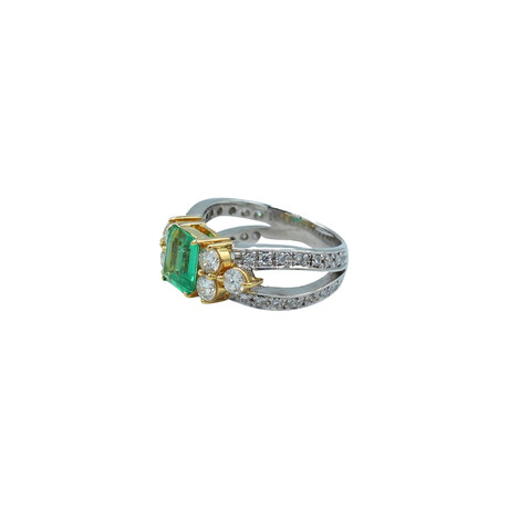 18k White Gold + 18k Yellow Gold Diamond + Emerald Ring // Ring Size: 7 // Pre-Owned