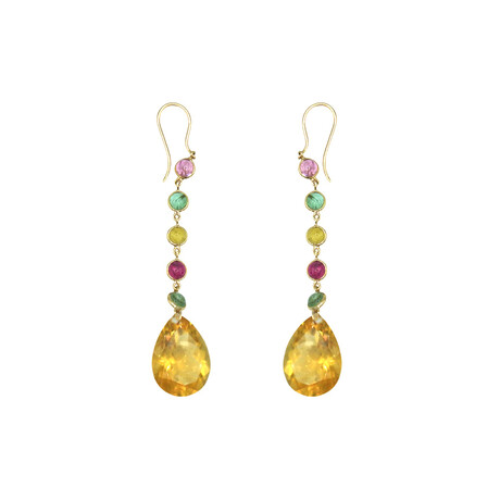 18k Yellow Gold Citrine + Tourmaline Drop Earrings // Pre-Owned