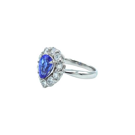 Platinum Diamond + Tanzanite Ring // Ring Size: 5.5 // Pre-Owned
