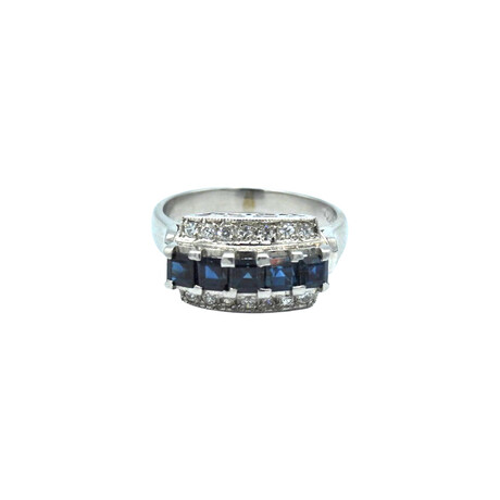 Platinum Diamond + Sapphire Ring // Ring Size: 4.75 // Pre-Owned