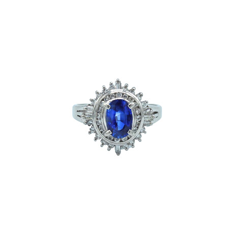 Platinum Diamond + Sapphire Ring // Ring Size: 5 // Pre-Owned