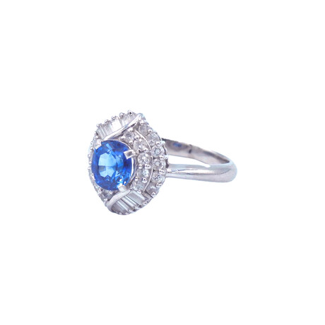 Platinum Diamond + Sapphire Ring // Ring Size: 5.25 // Pre-Owned