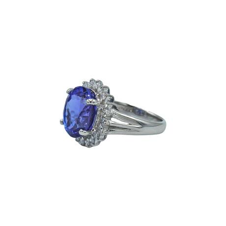 Platinum Diamond + Tanzanite Ring // Ring Size: 6.5 // Pre-Owned