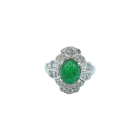 Platinum Diamond + Emerald Ring // Ring Size: 5.75 // Pre-Owned