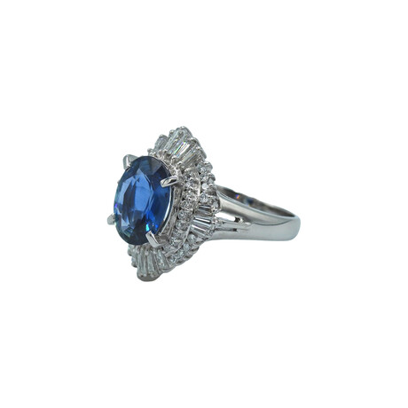 Platinum Diamond + Sapphire Ring // Ring Size: 7.25 // Pre-Owned