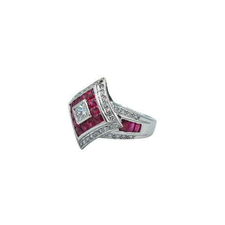 Platinum Diamond + Ruby Ring // Ring Size: 6.75 // Pre-Owned