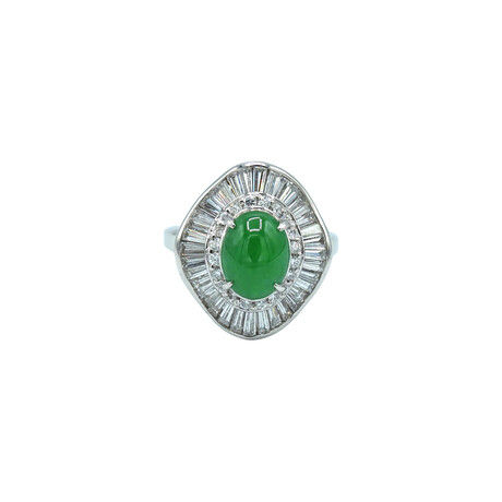Platinum Diamond + Jade Ring // Ring Size: 6.25 // Pre-Owned