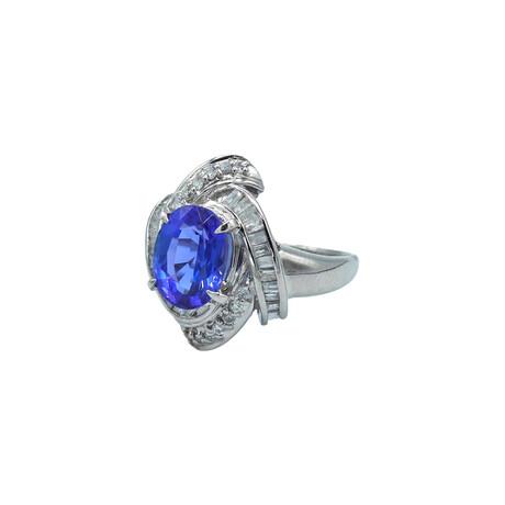 Platinum Diamond + Tanzanite Ring // Ring Size: 7 // Pre-Owned