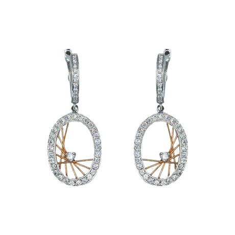 14k White Gold + 14k Rose Gold Oval Shape Diamond Earrings // Pre-Owned