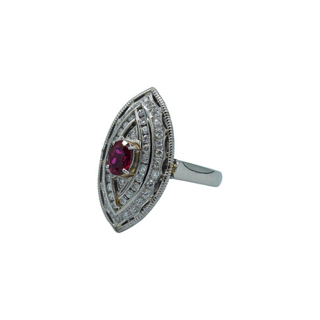 Platinum Diamond + Ruby Ring // Ring Size: 6.25 // Pre-Owned