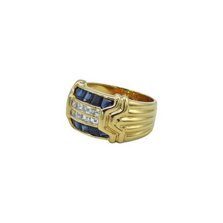 18k Yellow Gold Diamond + Sapphire Ring // Ring Size: 6.75 // Pre-Owned