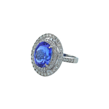 Platinum Diamond + Tanzanite Ring // Ring Size: 6.25 // Pre-Owned