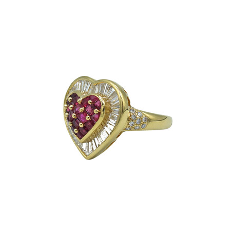 18k Yellow Gold Diamond + Ruby Ring // Ring Size: 7.5 // Pre-Owned