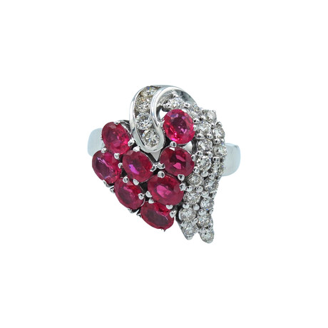 18k White Gold Diamond + Ruby Ring // Ring Size: 6.75 // Pre-Owned