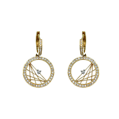 14k Yellow Gold Circle Shape Diamond Earrings // Pre-Owned