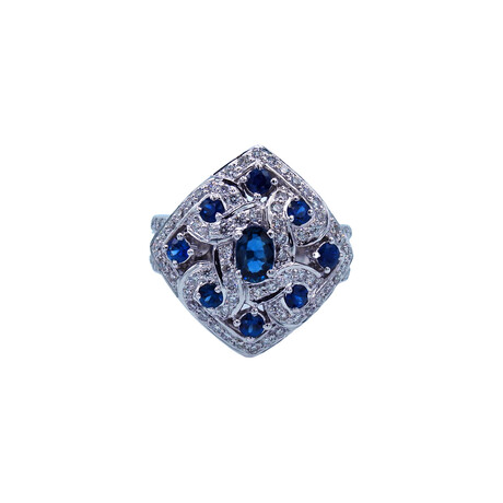 18k White Gold Diamond + Sapphire Ring // Ring Size: 6.5 // Pre-Owned