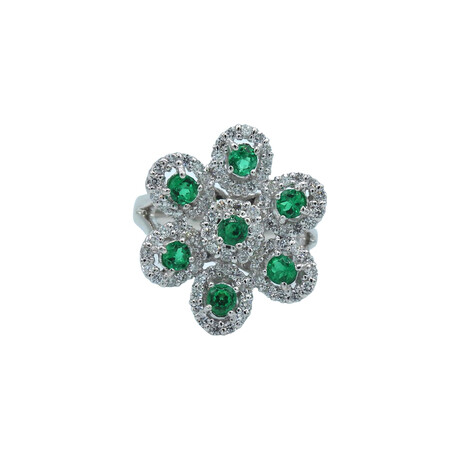 Platinum Diamond + Emerald Ring // Ring Size: 6.5 // Pre-Owned