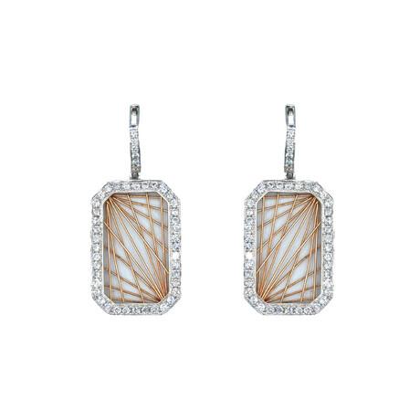 14k White Gold + 14k Rose Gold Rectangle Shape Diamond Earrings // Pre-Owned