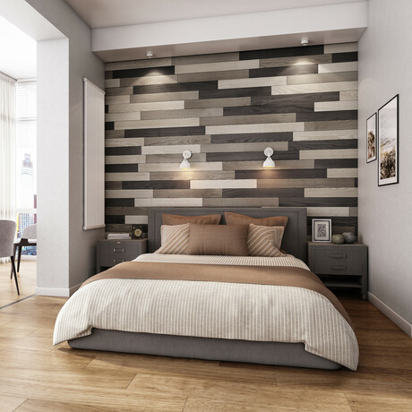 NaturaPlank™ Peel + Stick Wood Wall Cladding // Medium Gray Transitions // 2 Pack