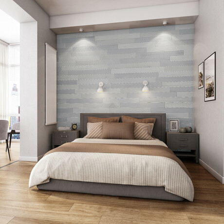 NaturaPlank™ Peel + Stick Wood Wall Cladding // Pewter // 2 Pack
