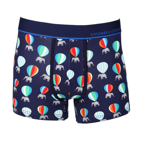 No Show Trunk Flying Elephant // Blue + Multicolor (S)